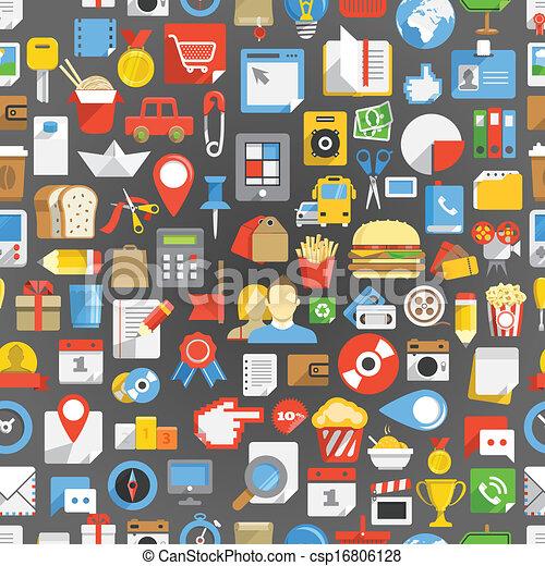 interface, beaucoup, seamless, fond, icônes - csp16806128
