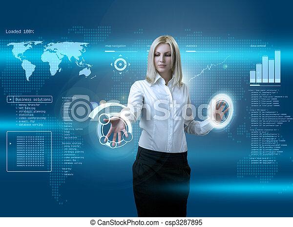interface, blond, séduisant, futuriste, naviguer - csp3287895