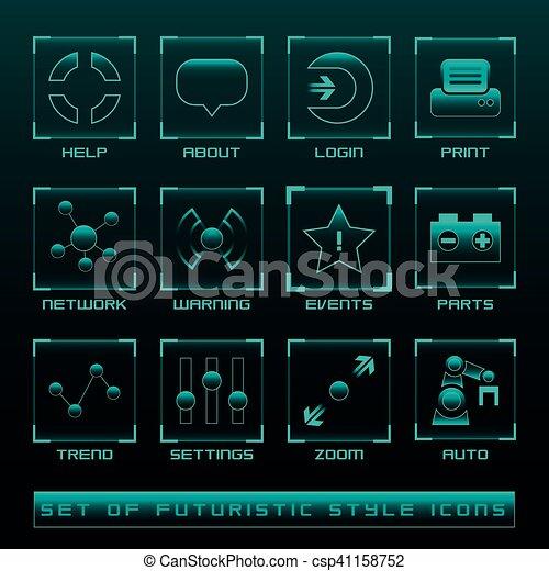 interface, ensemble, utilisateur, futuriste, icônes - csp41158752