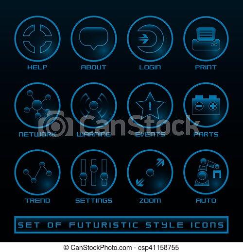 interface, ensemble, utilisateur, futuriste, icônes - csp41158755