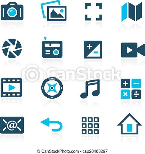 interface, média, --, azur, icônes - csp28480297