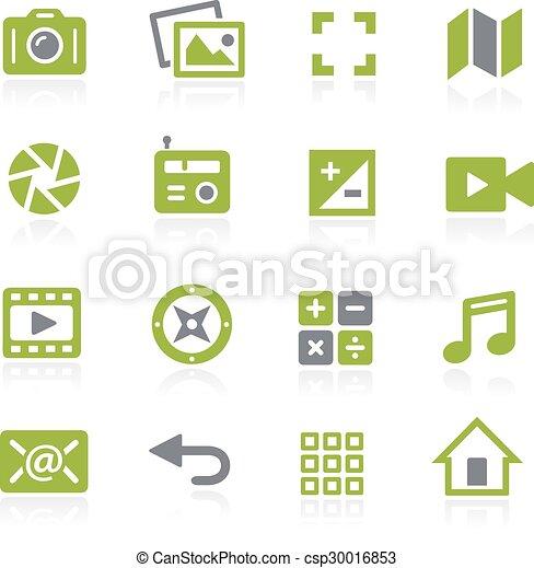 interface, mídia, natura, icons. - csp30016853