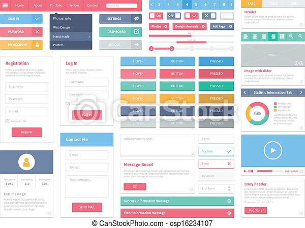 interface, plat, éléments, ensemble, utilisateur - csp16234107