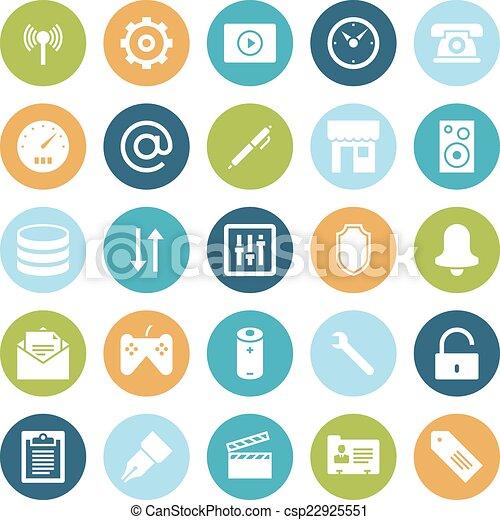 interface, plat, conception, utilisateur, icônes - csp22925551