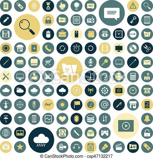interface, plat, conception, utilisateur, icônes - csp47132217