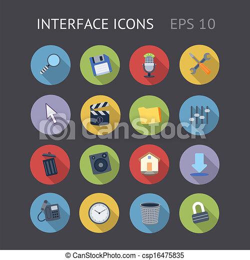 interface, plat, icônes - csp16475835