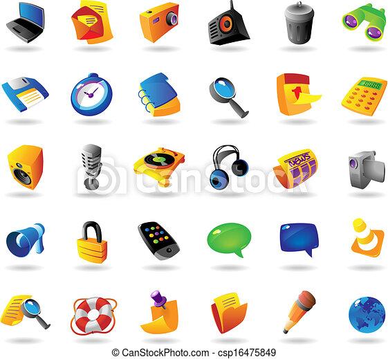 interface, réaliste, ensemble, icônes - csp16475849