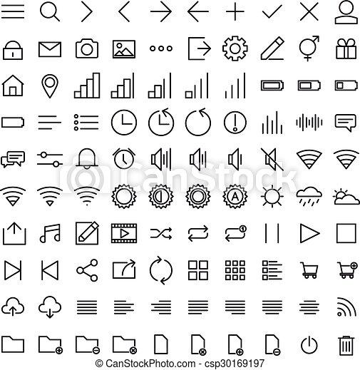 interface, utilisateur, ensemble, contour, icônes - csp30169197