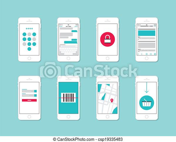 Elementos de interfaz de aplicación de teléfono inteligente - csp19335483