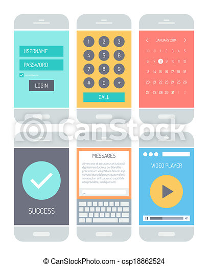 Elementos de interfaz de aplicación de teléfono inteligente - csp18862524