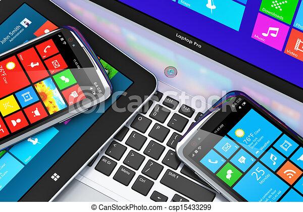 Dispositivos móviles con interfaz de pantalla táctil - csp15433299