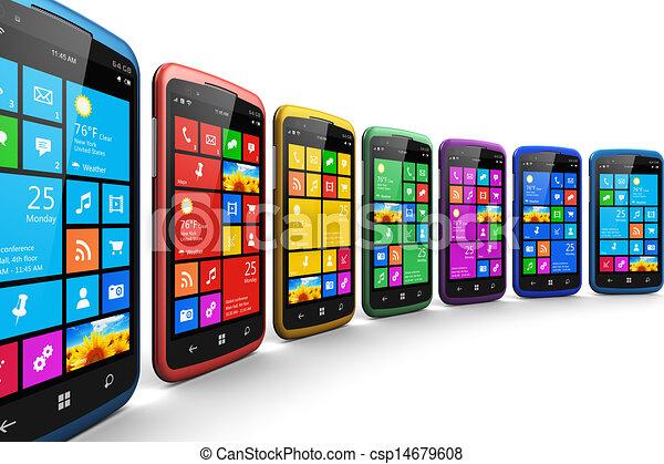 Teléfonos inteligentes modernos con interfaz de pantalla táctil - csp14679608