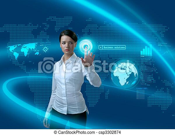 interfaz, mujer de negocios, futuro, soluciones, empresa / negocio - csp3302874