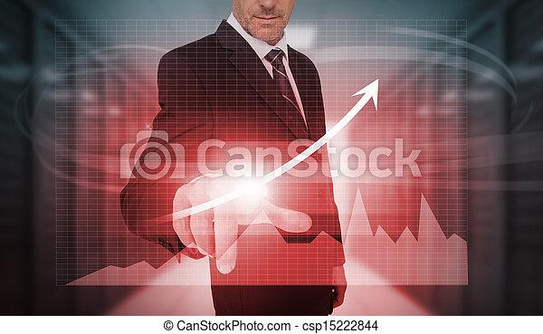 Empresario presionando la flecha de crecimiento rojo y la interfaz gráfica - csp15222844