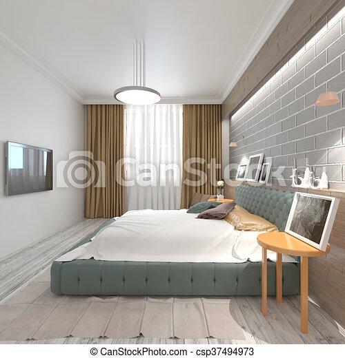 Interieur, 3d, illustratie, slaapkamer. Stijl, moderne,... stock ...