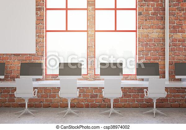 Interieur, baksteen, rood, kantoor. Stad, op, kantoor,... stock ...