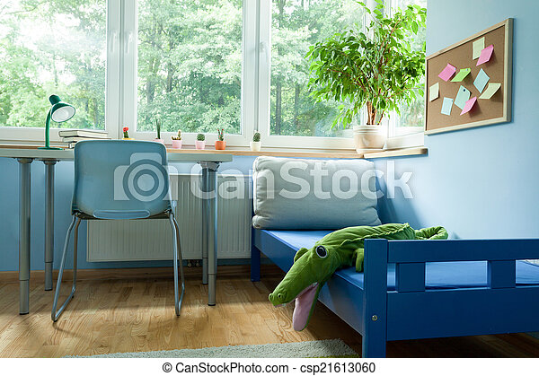 Interieur blauwe kamer jongen. blauwe jongen interieur kamer