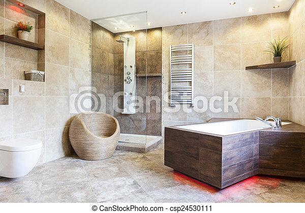 Interieur, bruine , badkamer, duur. Interieur, bruine ...