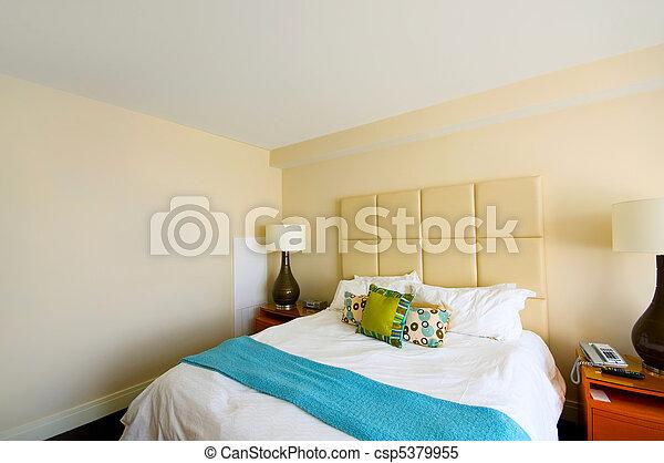 interieur, dubbel, moderne kamer, bed - csp5379955