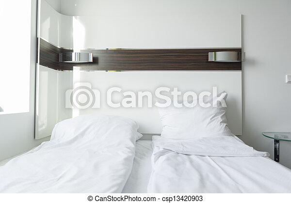 Interieur, fris, minimalist, schoonmaken, slaapkamer.... stock ...