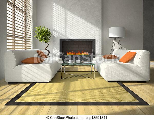 Interieur, huiskamer, moderne, openhaard. Huiskamer,... Tekening ...