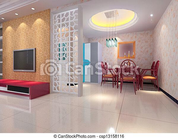 Interieur, huiskamer, moderne, render, 3d. Render, moderne ...