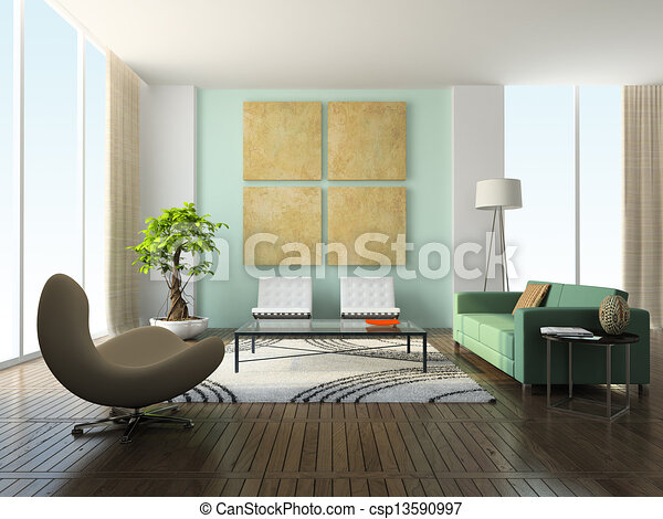 Interieur, huiskamer, moderne. Interieur, vertolking, huiskamer ...