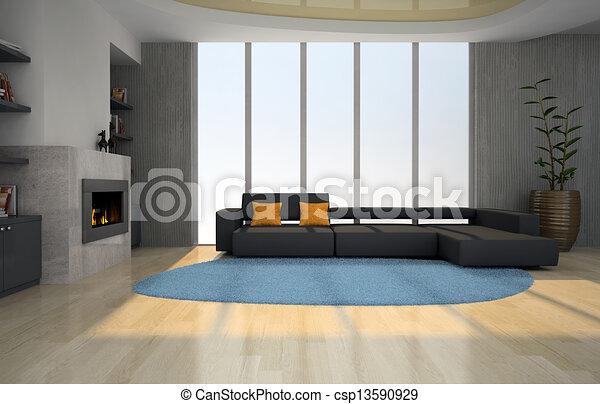 Interieur, huiskamer, openhaard. Interieur, vertolking,... clipart ...