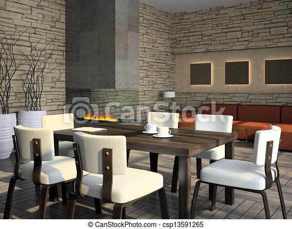 Interieur, huiskamer, openhaard. Interieur, vertolking, huiskamer ...