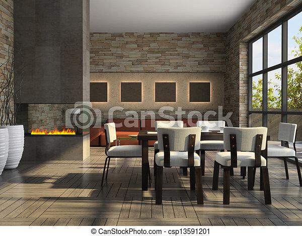 Interieur, huiskamer, openhaard. Interieur, vertolking,... stock ...