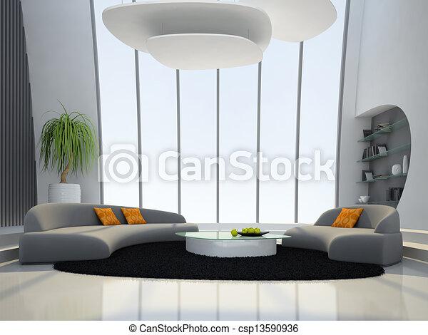 Interieur, huiskamer, ronde. Interieur, vertolking,... tekeningen ...