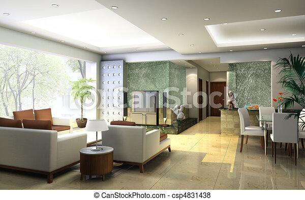 Interieur, huiskamer. Interieur, vertolking, huiskamer,... stock ...
