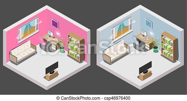 Interieur jongen isometric kamer meisje jongen isometric