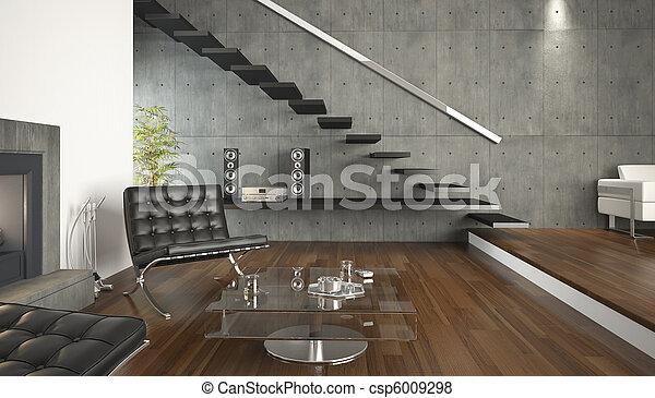 interieur, levend, moderne, ontwerp, kamer - csp6009298