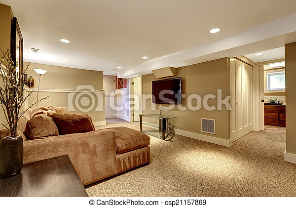 Interieur levend warme kamer woonkamer bruine tv