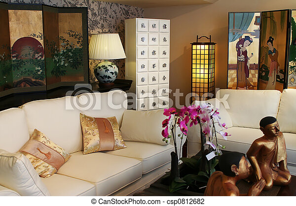 Interieur, moderne, chinees. Interieur, stijl, moderne,... stockfoto ...