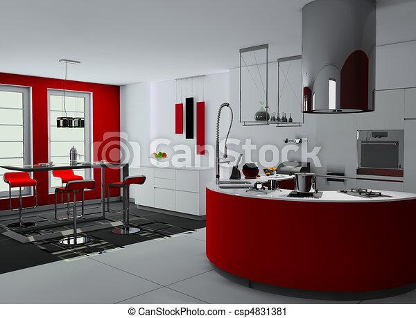 Interieur moderne keuken moderne 3d rendering for Keuken plannen in 3d