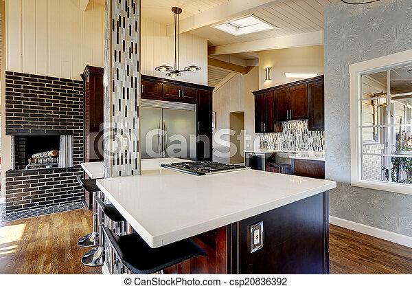 Interieur moderne openhaard kamer keuken staal bruine
