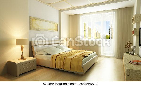 Interieur, stijl, moderne, slaapkamer, 3d. Stijl, render ...
