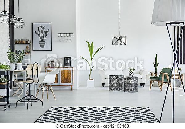 Interieur, stijl, zolder, scandinavische. Stijl, zolder,... beelden ...