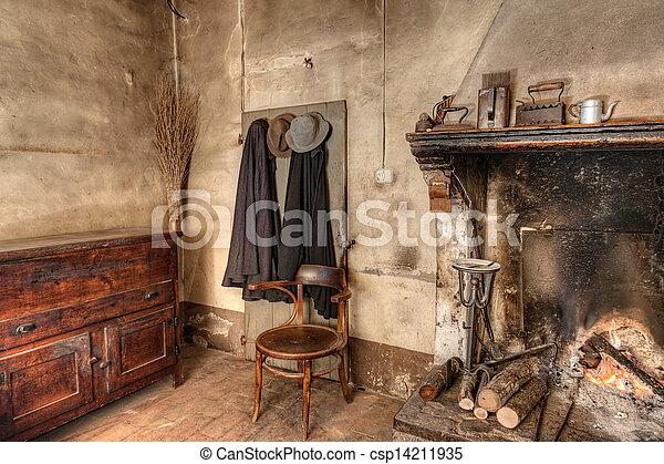 Interieur woning oud land. boerderij oud oud kast stro