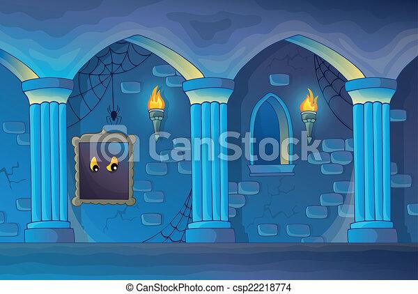 interior, 1, castelo, assombrado, tema - csp22218774