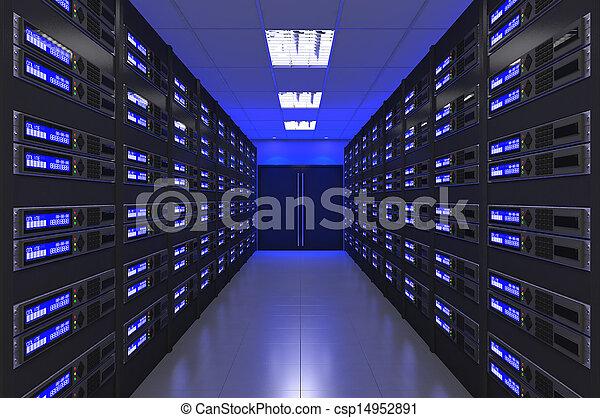 interior, 3d, quarto moderno, servidor - csp14952891
