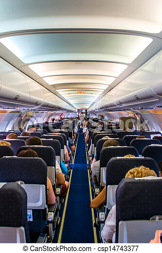 Interior Airplane. Interior Of A Commercial Airplane. No... Picture    Search Photo Clipart   Csp14743377