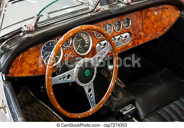 interior and dashboard on a vintage sports car interior and dashboard detail of a restored. Black Bedroom Furniture Sets. Home Design Ideas