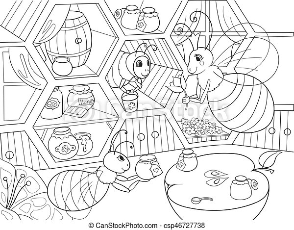 Interior and family life of bees in the house coloring for children cartoon vector illustration. Apiary honey bee house. - csp46727738