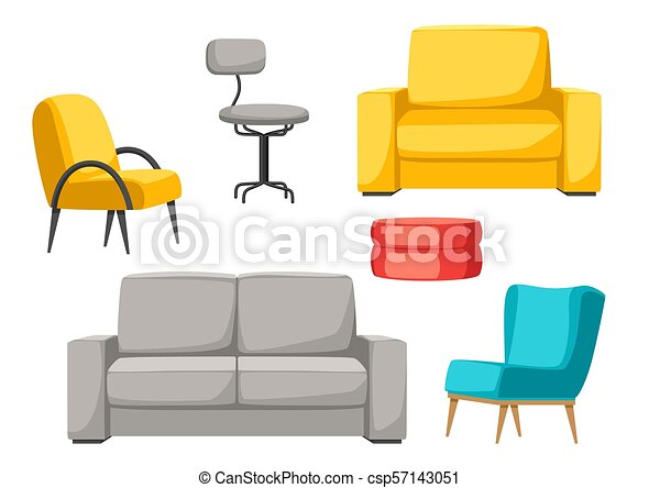 Interior And Furniture Set Sofa Armchair And Pouf