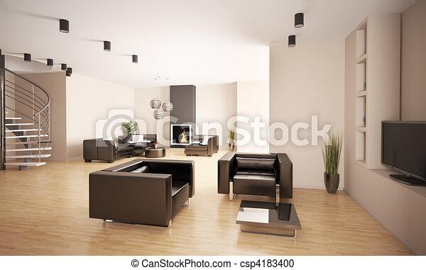 interior, apartamento, 3d - csp4183400