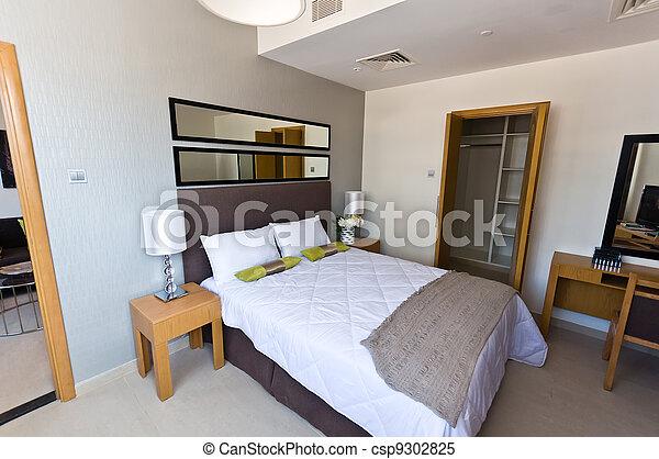 Interior de apartamento moderno, dormitorio - csp9302825