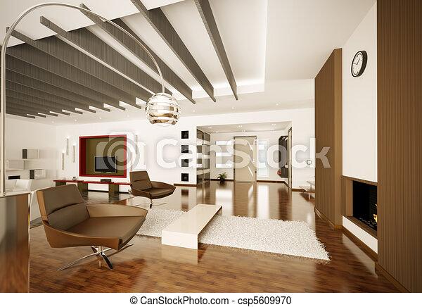 interior, apartamento, modernos, render, 3d - csp5609970